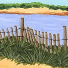 ACEO Print of Original Newport RI, Dune Beach Painting, Renee Rutana