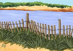 ACEO Print of Original Newport RI, Dune Beach Painting, Renee Rutana
