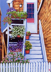 ACEO Print of Original Rockport Floral Stairs Painting, Renee Rutana