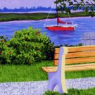ACEO Print of Original Cape Cod Boat Bass River Painting, Renee Rutana