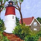ACEO PRINT of Original Cape Cod, Lighthouse Painting, Renee Rutana