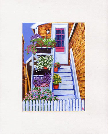 ROCKPORT Flowers Staircase Daisies Matted Print, Renee Rutana
