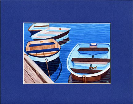 CAPE COD Blue & Brown Rowboats Matted Print, Skiffs, Seascape, Renee Rutana