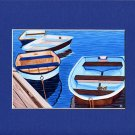 CAPE COD Blue & Brown Rowboats Matted Print, Skiffs, Seascape, Renee Rutana