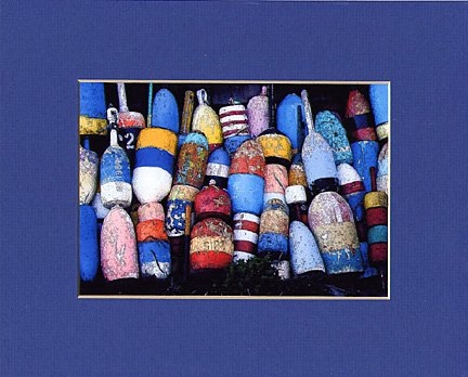 ROCKPORT LOBSTER BUOYS Blue, Red, Yellow & White Matted Print, Renee Rutana