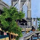 ACEO Print of Original Brooklyn Bridge, New York City Painting, Renee Rutana