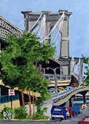 ACEO Print of Original Brooklyn Bridge, New York City Painting, Renee Rutana