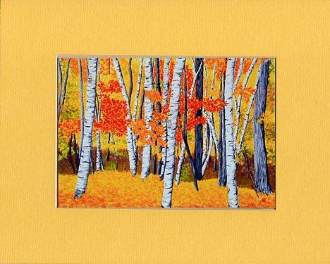VERMONT Birch Landscape Autumn Leaves FALL Matted Print, Renee Rutana