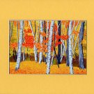 VERMONT Birch Landscape Autumn Leaves FALL Matted Print, Renee Rutana