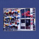 ROCKPORT LOBSTER BUOY WINDOW Blue, Black, Yellow & White Matted Photo Print, Renee Rutana