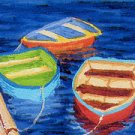 ACEO Print of Original Rowboats Painting, Renee Rutana