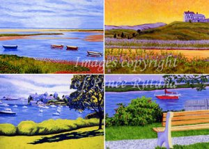 ACEO PRINT SET of 4 Original Cape Cod Truro, Harwichport, Boats and Beach Paintings by Renee Rutana