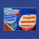 CAPE COD Bright Colored Rowboats Matted Print, Skiffs, Seascape, Renee Rutana