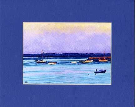 CAPE COD Sea PROVINCETOWN Painting BOATS Matted Print, Renee Rutana