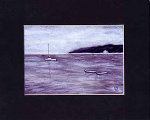 CAPE COD Sea HYANNIS Painting BOATS Matted Print, Renee Rutana