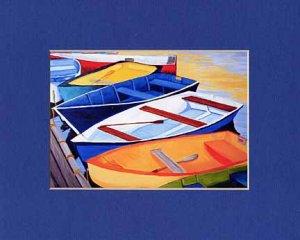 CAPE COD Rowboats Orange, Blues Greens Matted Print Dinghy, Renee Rutana