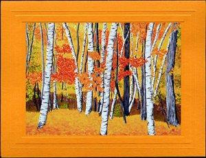 VERMONT BIRCH TREES Autumn, Yellows, Reds and Orange Seasonal Blank Greeting Card, Renee Rutana