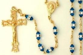 Gold over Sterling silver rosary with crystal beads