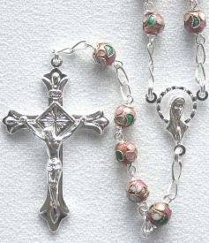 Pink Cloisonne' Rosary