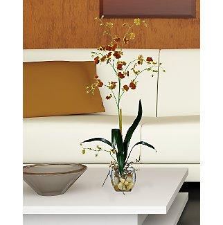 Oncidium Liquid Illusion Silk Orchid Arrangement (Burgundy)