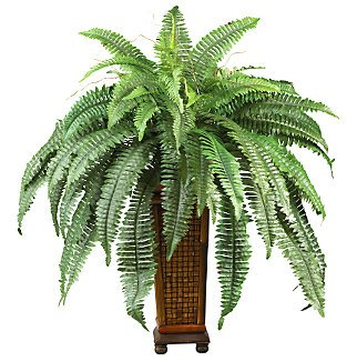 Boston Fern w/Decorative Wood Vase Silk Plant