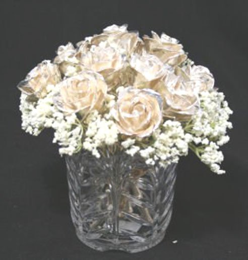 """One Dozen 8"""" All Silver Roses with Vase"""