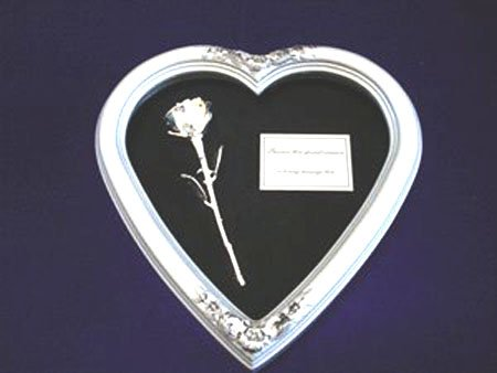 """Silver Heart with 8"""" Silver Rose"""