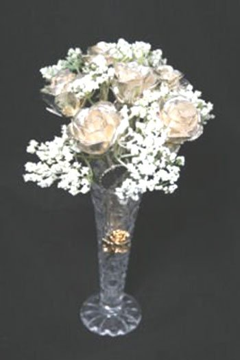 """Six 8"""" All Silver Roses with Vase"""