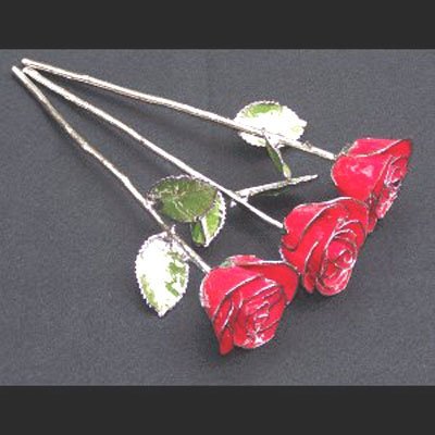 Trio of Silver/Red Roses