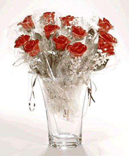 12 Red/Platinum Roses