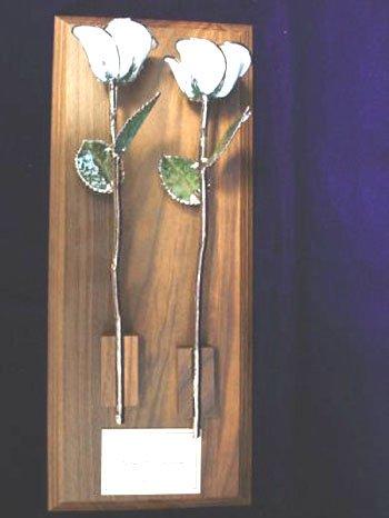 Two Diamond White/Platinum Wedding Roses on Walnut Base