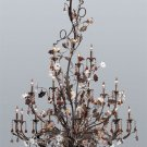 Cristallo Fiore 18 Light Chandelier in Deep Rust