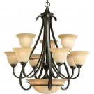 9-Light Two-Tier Torino Chandelier, Forged Bronze