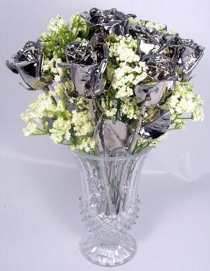 """1 Dozen 11"""" Platinum Roses"""
