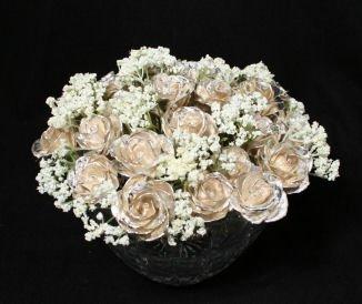 "Twenty-five 9"" All Silver Roses w/Vase"