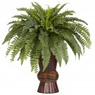 Boston Fern with Bamboo Vase Silk Plant