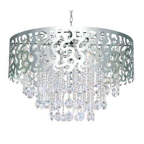 Trans Globe Lighting Modern Polished Chrome Eight-Light Crystal Pendant