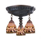 Mix-N-Match Aged Walnut Three-Light Semi Flush Mount with Tiffany Style Glass