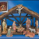 12-Pc Nativity Set with Wood Stable
