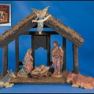 7-Piece Nativity Set with Wood Stable