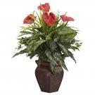Mixed Greens & Anthurium Silk Plant