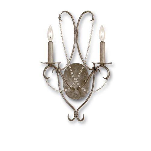 Currey and Company Two Light Crystal Wall Sconce