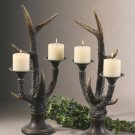 Stag Horn Candle Holder - Set of Two