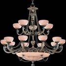 Crystorama Lighting Natural Alabaster 20 Light Chandelier in Bronze