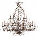 Circeo Fifteen Light Candle Chandelier in Deep Rust