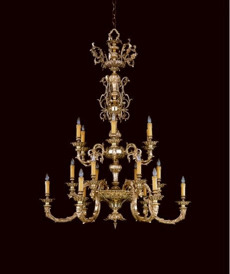 18 Light Palmer Chandelier, Olde Brass