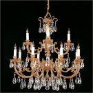 12 Light Etta Crystal Chandelier, Olde Brass