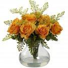 Orange Yellow Rose & Maiden Hair Arrangement w/Vase