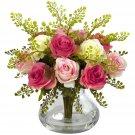 Assorted Pastel Rose & Maiden Hair Arrangement w/Vase