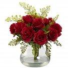 Red Rose & Maiden Hair Arrangement w/Vase